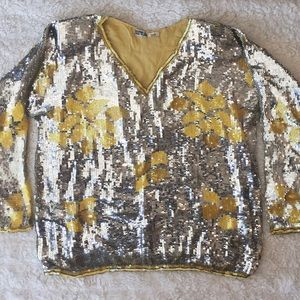 VINTAGE sequined silver and yellow top